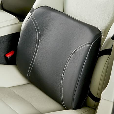 High Road Car Seat Cushion With Lumbar Support And Leather Look Cover
