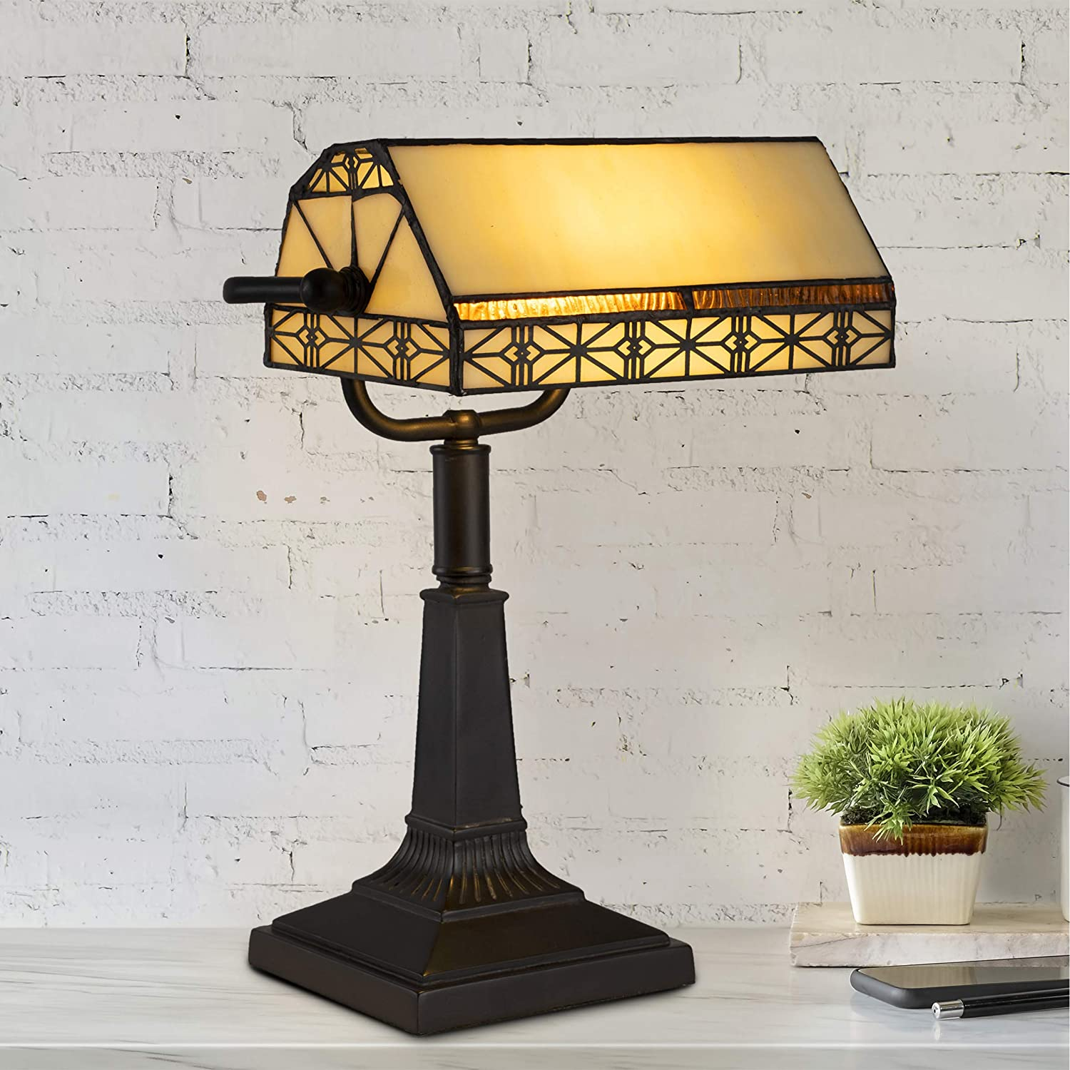 Lavish Home A1000840 Bankers Lamp – Tiffany Table or Desk Light Stained Glass Shade LED Bulb Included – Vintage Look Mission Style Accent Decor, Multi-Color