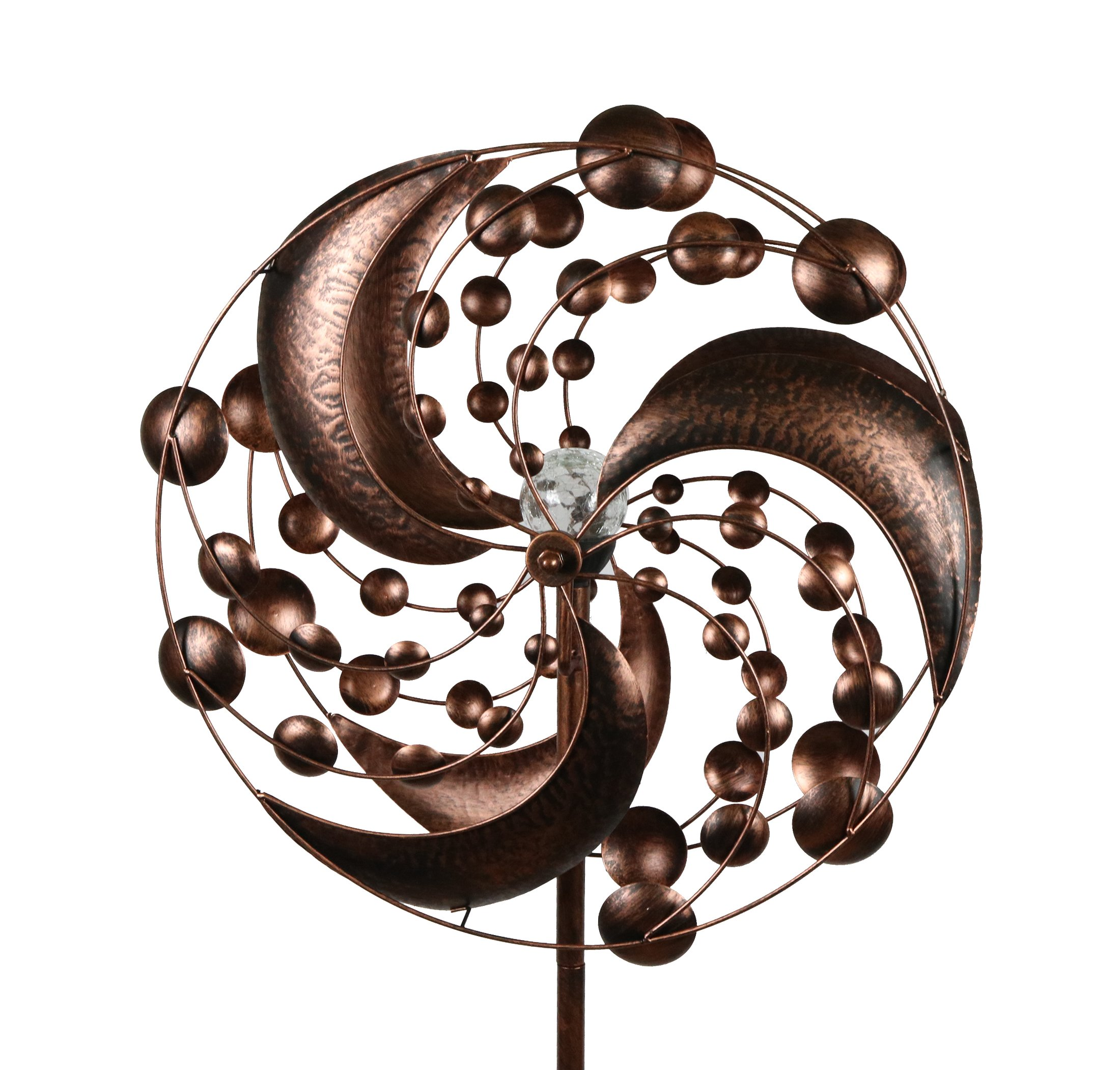 Solar System Style Kinetic Wind Garden Spinner with Solar Powered Light by MJ Spinner Designs