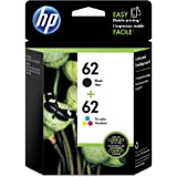 HP 62 Black & Tri-color Original Ink Cartridges, 2 pack (N9H64FN)