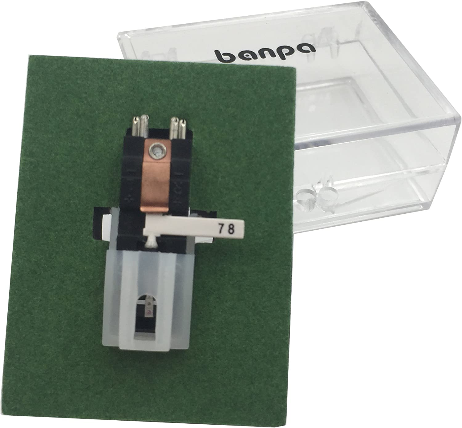 banpa Turntable Cartridge Replacement BP2ATC - with Two Side Red and Blue Diamond Tip for Vinyl LP/78 RPM Record Player