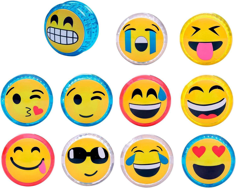 DISOK - Yo Yo Emoticonos con LUZ (Precio Unitario) Cumpleaños, Comuniones. Recuerdos y Detalles para niños, colegios Primera Comunión yoyos, yo yos Emoji, Emoticonos