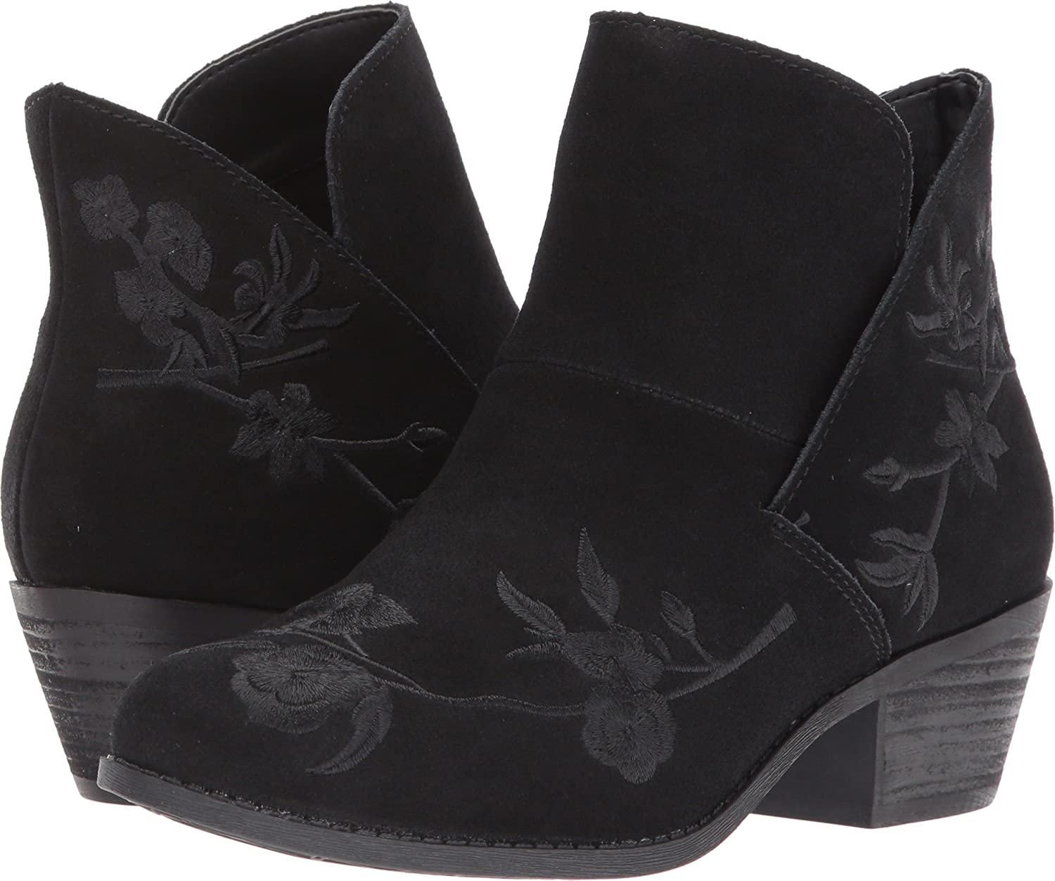 Black Floral Suede Me Too Womens Zena 14 Leather Almond Toe Ankle Fashion Boots