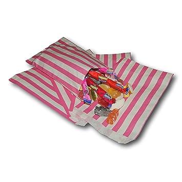 "Epos Gear 100 Color Rosa Rosa Dulces rayas papel Bonito regalo bolsas 5 """