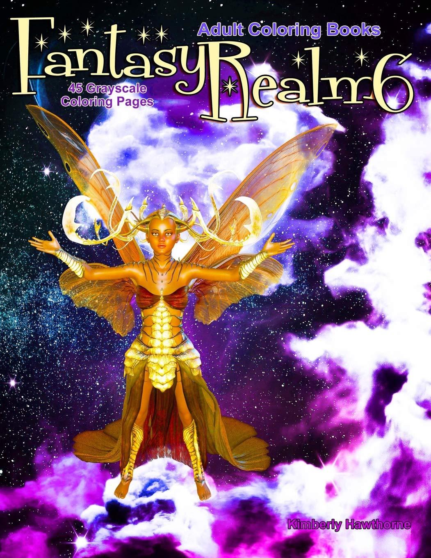 Amazon Com Adult Coloring Books Fantasy Realm 6 45 Grayscale