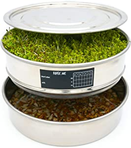 Stainless Steel Seed Sprouting Tray - 3 Piece Stackable Sprout Growing Kit, Date Sticker and Pen Set Plus One Mystery Gift