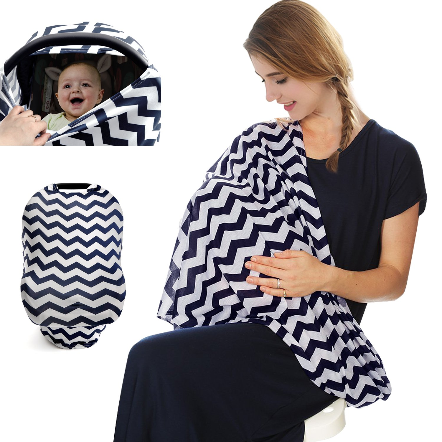 Children Hub Baby Nursing Cover - Multi-Use Breastfeeding Scarf - Stretchy and Breathable Baby Car Seat Cover Canopy (V Shaped) Shoppers Smart