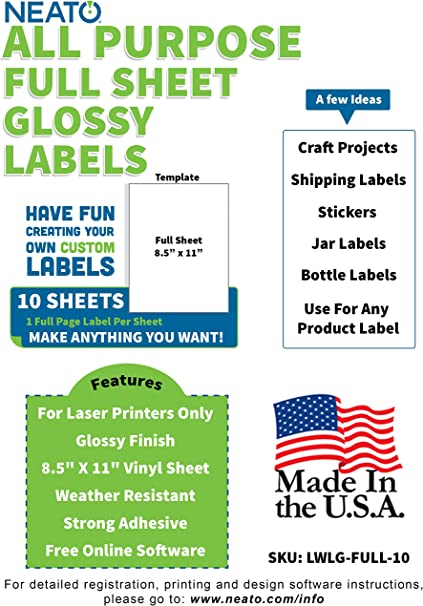 Glossy Printable Vinyl Sticker Paper 8 5 X 11 Blank Custom Label Sticker Sheet Water Resistant Tear Free Labels 10 White Sheets For Laser