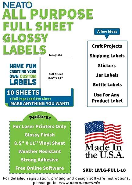 Neato - Etiquetas impresas para impresoras láser, resistentes a la ...