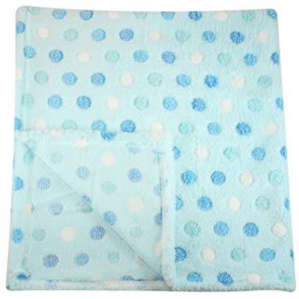 Plush Fleece Baby Blanket - Assorted Colors Polka Dot Blankets by bogo Brands (Blue)