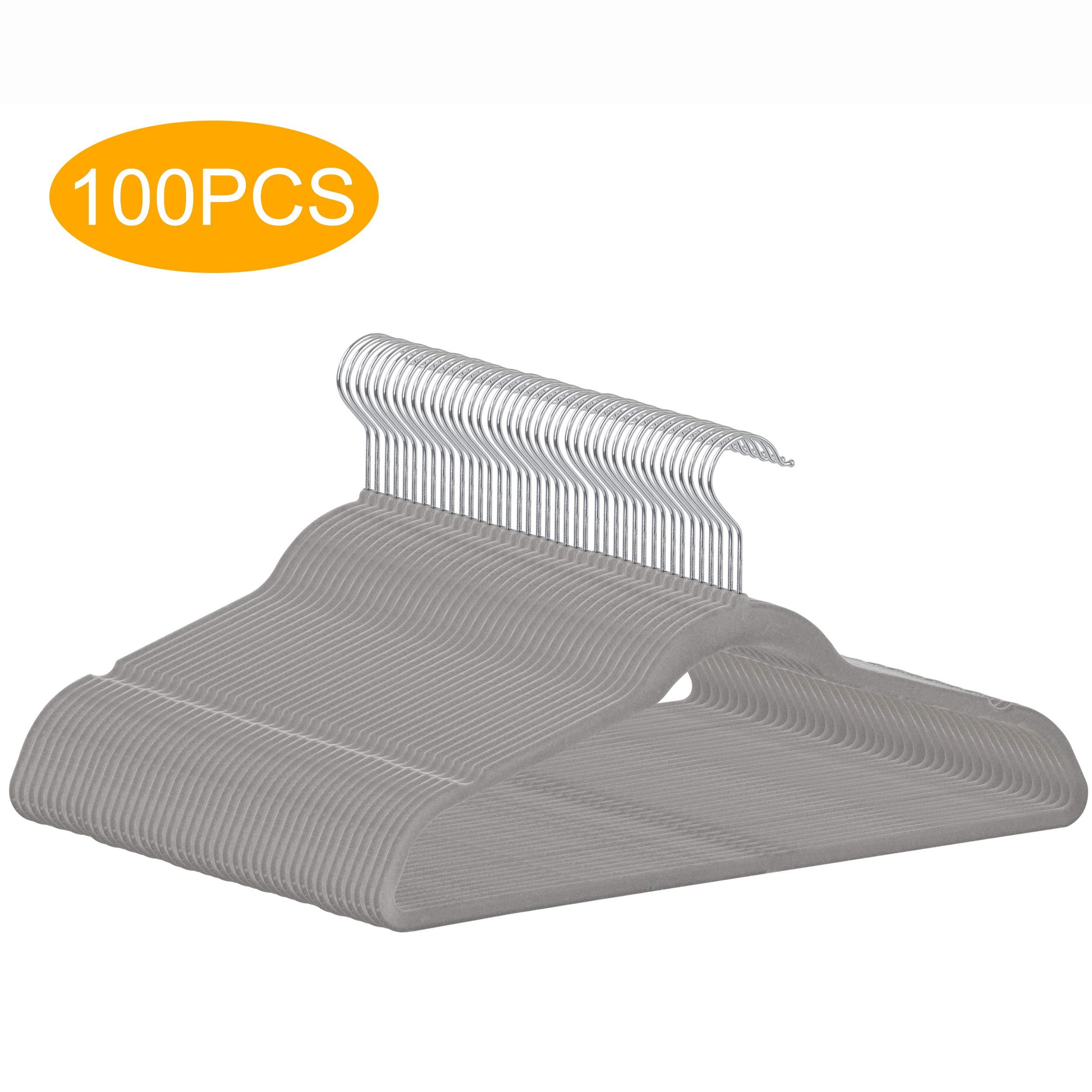 ZENSTYLE 100 Pack Ultra Thin Velvet Hangers - Non Slip Clothes Suit Hangers, 360 Degree Swivel Hook, Velvet Flocked Surface