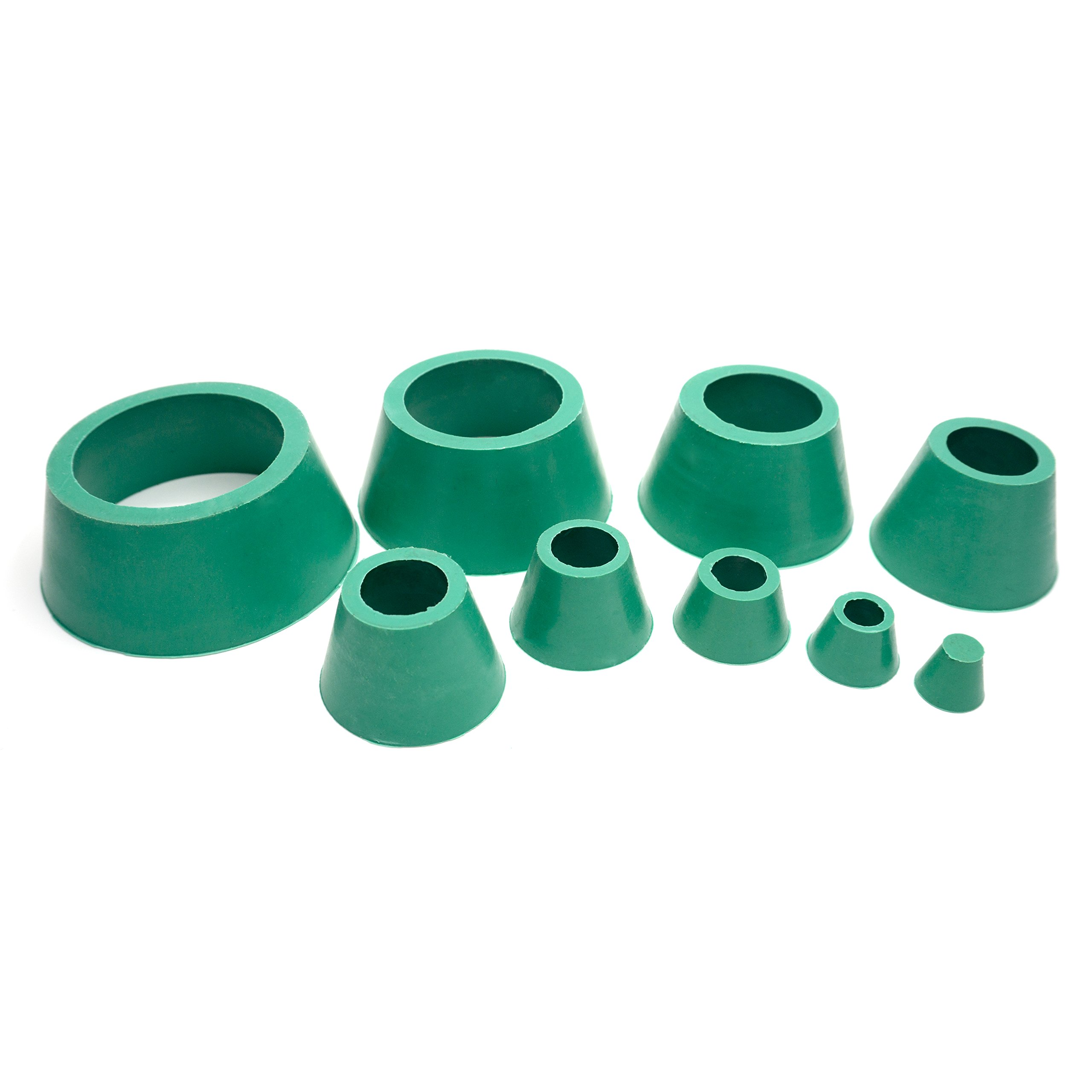 Soccerene Filter Adapter Cones Set, Buchner Funnel Flask Adapter Set, Tapered Collar Green, Good Elasticity Smooth Surface Hardwearing, Pack of 9