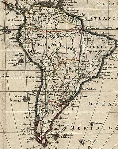 Map Of America In 1800.Amazon Com South America C 1800 20 Interesting Uncommon Antique
