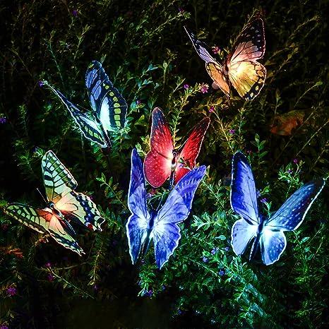 Solarleuchten Garten Garten Geschenke Balkon Decor Qualife Solarleuchte Garten Garten Dekoration Led Solar Lichterkette Au/ßen Schmetterling. Led Gartenleuchten Solar Solarlampen F/ür Au/ßen