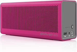 BRAVEN 805 Portable Wireless Bluetooth Speaker [18 Hour Playtime] Built-in 4400 mAh Power Bank Charger - Magenta/Gray