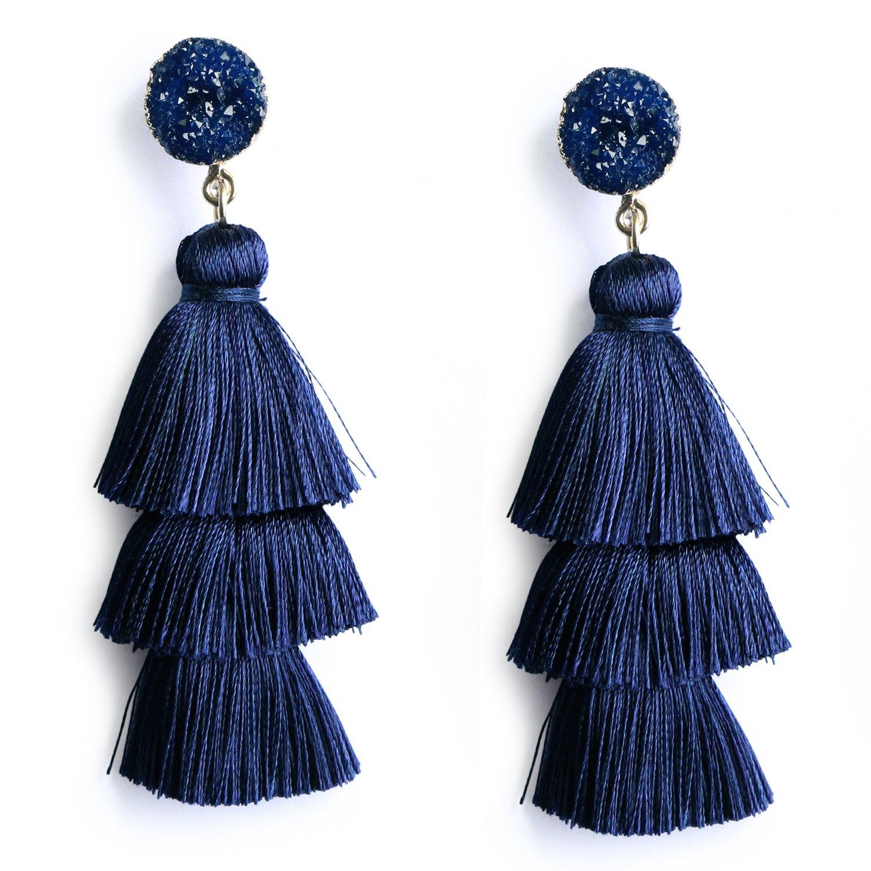 Me&Hz Navy Blue Tiered Tassel Earrings Stone Crystal Dangle Drop Stud Earring Thread Tassel Fashion Earrings by Me&Hz