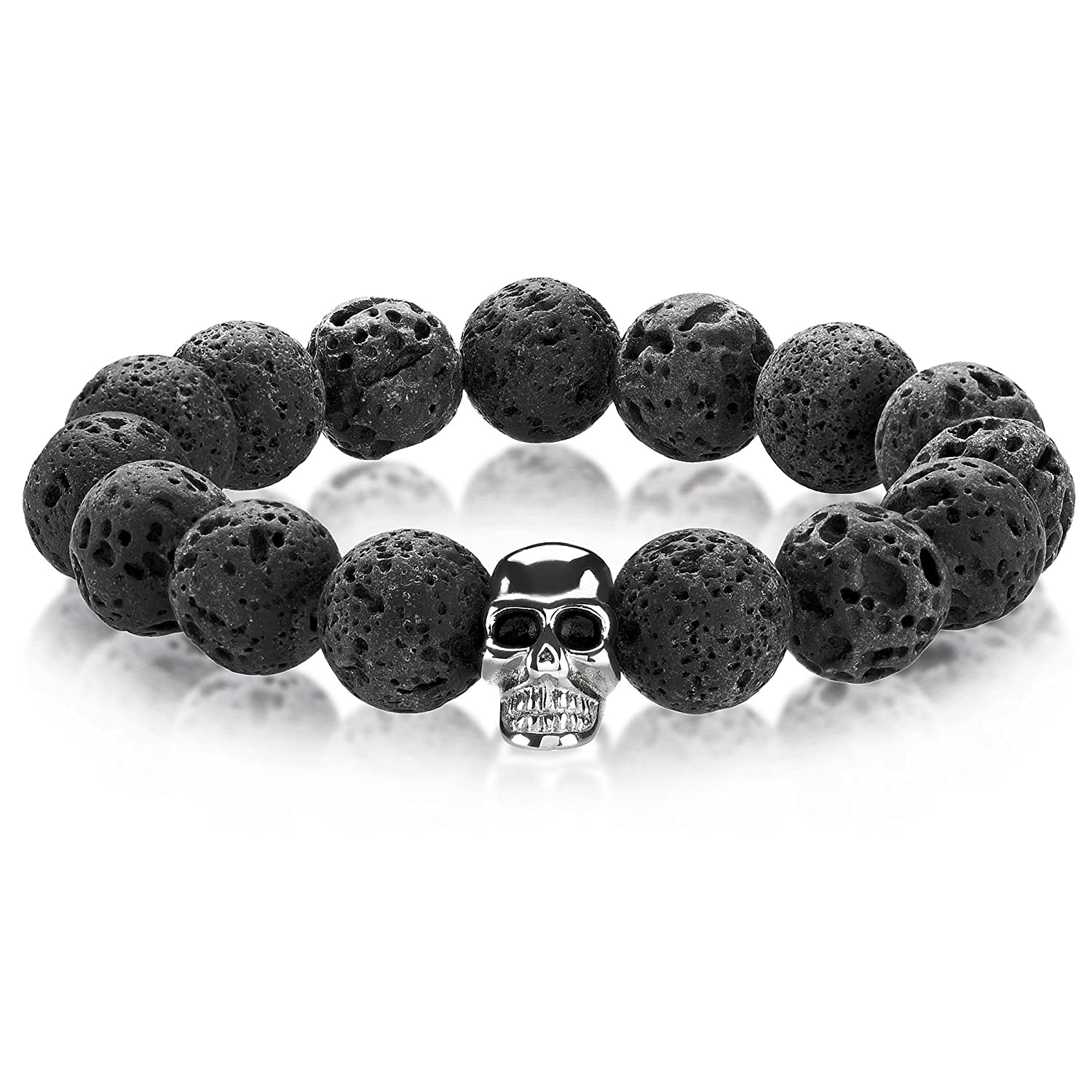 14mm Crucible Natural Stone Stainless Steel Skull Bead Stretch Bracelet West Coast Jewelry