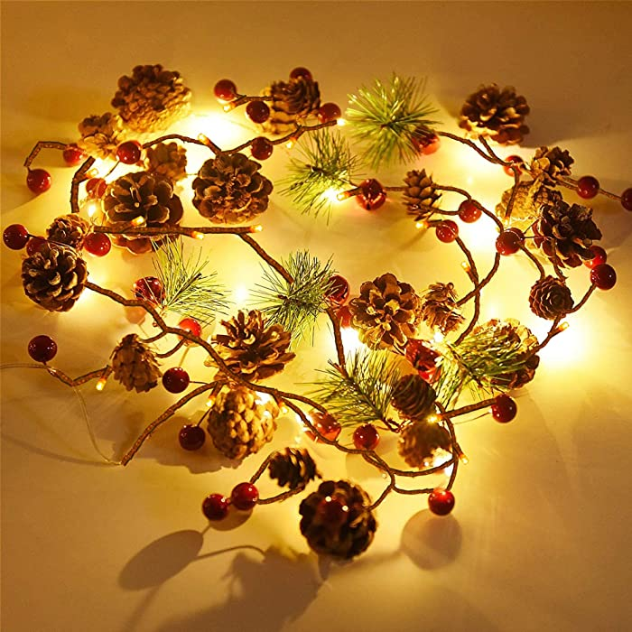 Funpeny Christmas PineCones String Lights, 6.56Ft 20 LED Pine Needles Red Berries Fall Light Garland, Indoor Outdoor Decor for Thanksgiving Christmas Autumn Themed Party