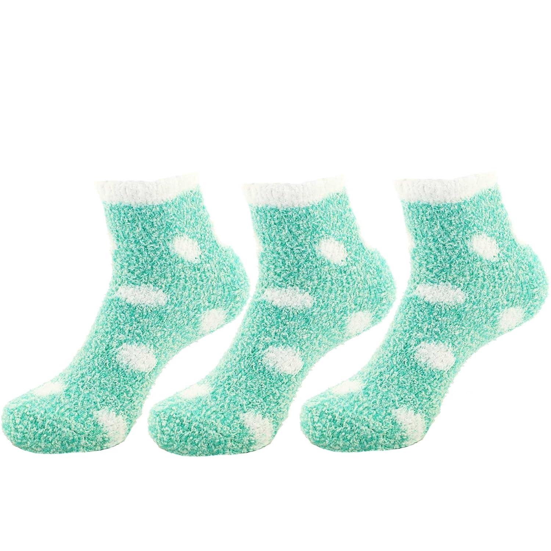 BambooMN - Super Soft Warm Microfiber Cozy Fuzzy Stripe/Polka Dot Socks 6955114934809a