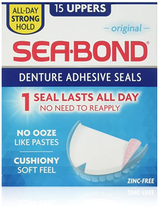 Sea Bond Denture Adhesive, Original, 15 uppers per Pack Candies & Mints at amazon