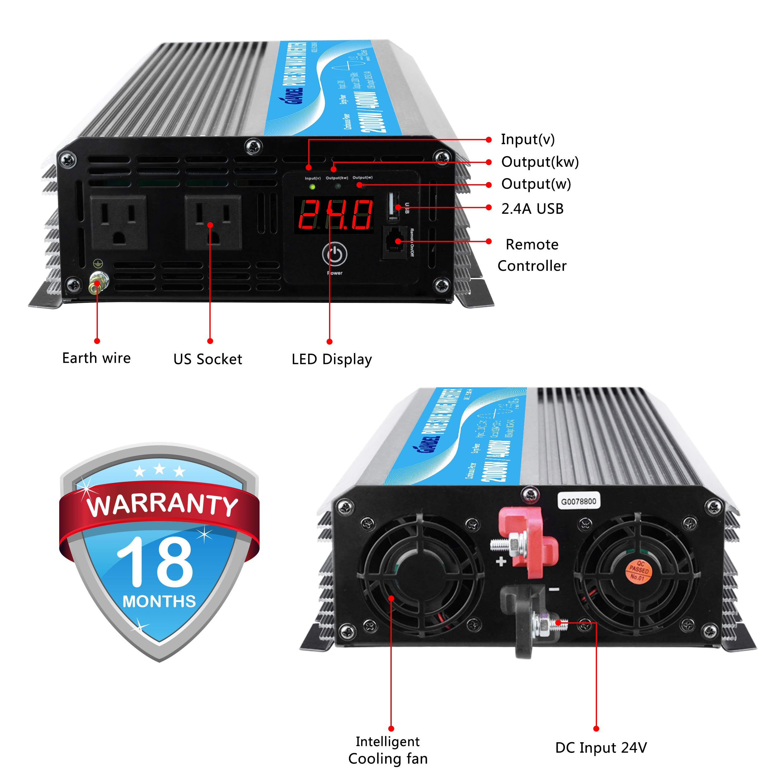 Giandel 2000W Pure Sine Wave Power Inverter DC 24V to AC120V with Dual AC Outlets with Remote Control 2.4A USB and LED Display by Giandel (Image #2)