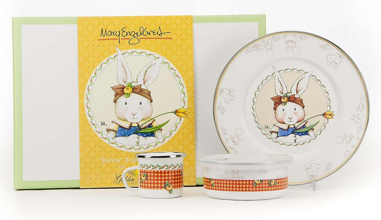 大切な Enamelware – – ウサギパターン – Kids 3 Enamelware Piece Piece Giftboxed With 4オンスマグ、14オンスボウル、8 1/ 2インチプレート B00LGWM5QS, parisrose:384007d6 --- a0267596.xsph.ru