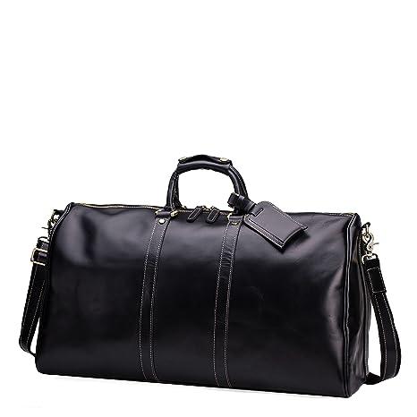 5b63fa8040 Huntvp Mens Cowhide Genuine Leather Travel Duffel Bag Weekend Carry On Luggage  Shoulder Bags