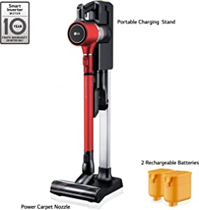 LG Cordzero A9 Charge, Cordless Stick Vacuum Cleaner with Two Batteries, for Carpet (A905RM) Matte Red