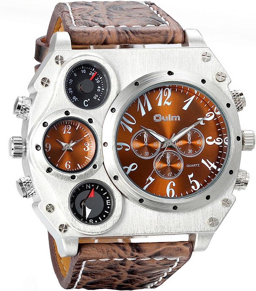 Avaner Reloj de Pulsera Grande Punky Militar Deportivo para Hombres, Brújula y Termómetro Decorativos Ancha Correa de Cuero Marrón, Reloj de Piloto 2 Zona de Horarios, Regalos dia del padre originales: Amazon.es: