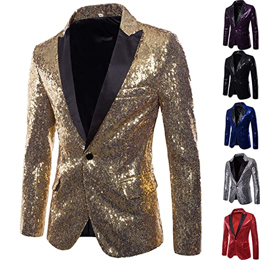 Shiny Gold Sequin Glitter Embellished Blazer Jacket Men Prom Suit Blazer at Amazon Mens Clothing store: