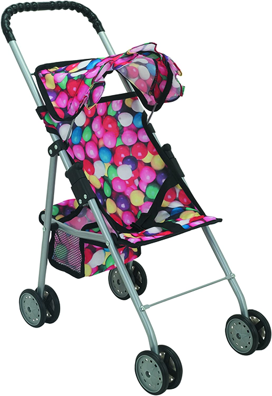 Mommy & Me My First Baby Doll Stroller with Basket, Extra Tall 23 Inch, Foldable Stroller, Gumballs