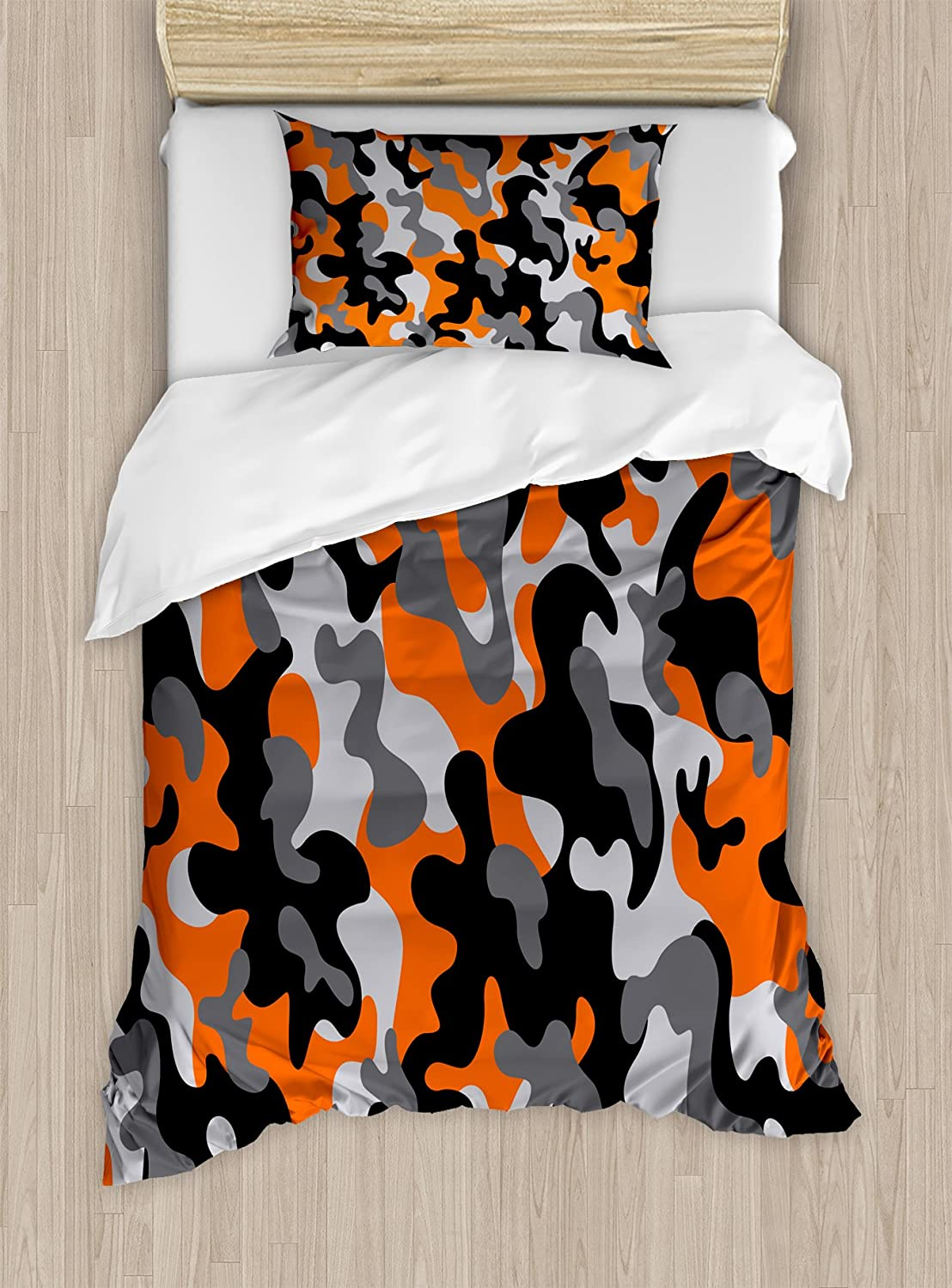 Ambesonne Camo Duvet Cover Set, Vibrant Camouflage Lattice Like Service Theme Modern Design Print, Decorative 2 Piece Bedding Set with 1 Pillow Sham, Twin Size, Orange Black