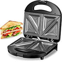 Kealive Breakfast Sandwich Maker, Sandwich Toaster, 750W with Non-stick Coating, LED Indicator Lights, Cool Touch Handle, Anti-Skid Feet, Black