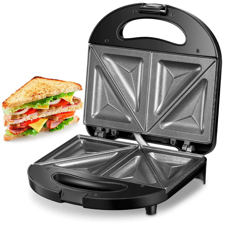 Kealive Sandwich Maker, Sandwich Toaster 750-Watts, Sandwich Press with Non-stick Coating, LED Indicator Lights, Black
