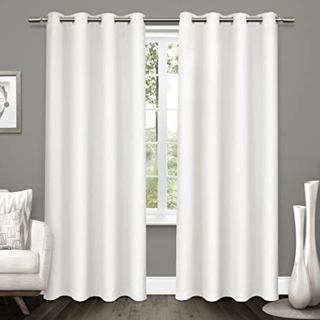 exclusive home curtains tweed textured linen woven blackout grommet top window curtain panel pair winter