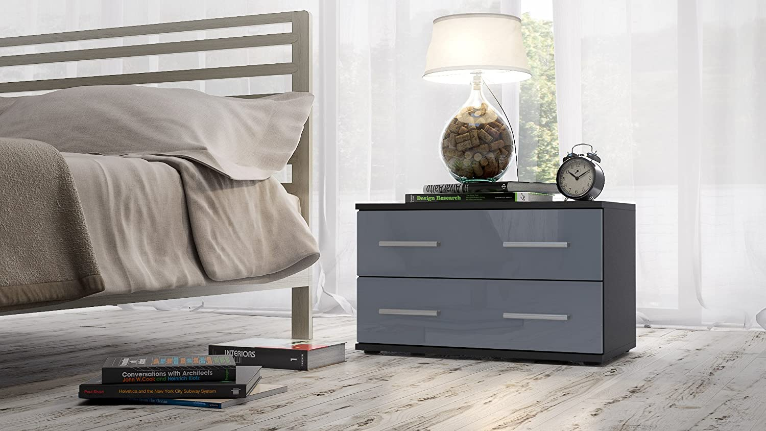 Vladon Bedroom Bedside Cabinet Kioto, Carcass in Black matt/Front in White High Gloss Fronts in Grey High Gloss