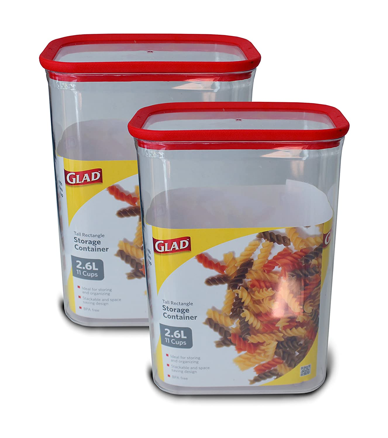 Amazon.com: Glad Dry Food Storage Container, 2.6 L (11 Cups) Tall  Rectangle, Pack Of 2: Kitchen U0026 Dining