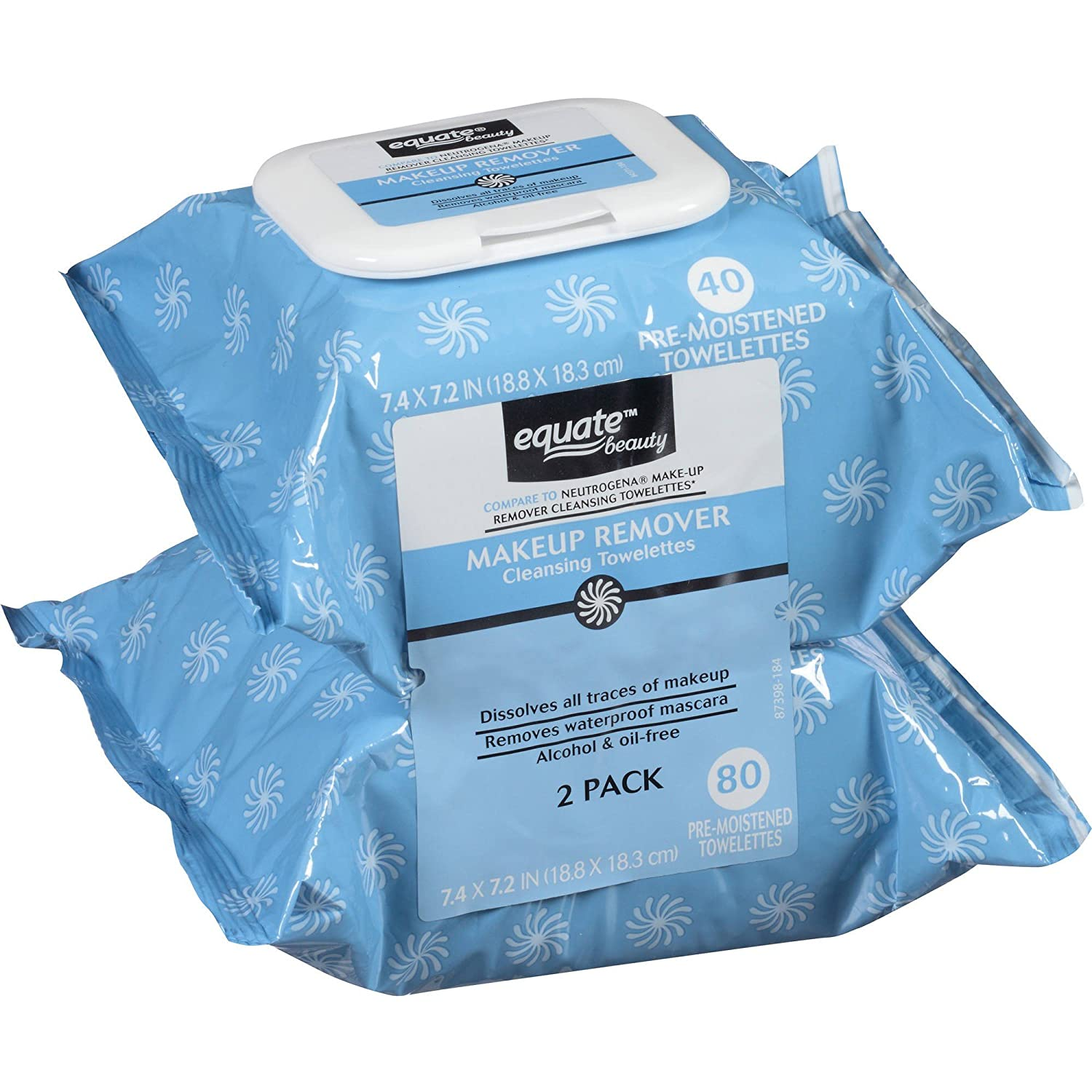Equate Makeup Remover Cleansing Towelettes, 40 Ct, 2 Pk