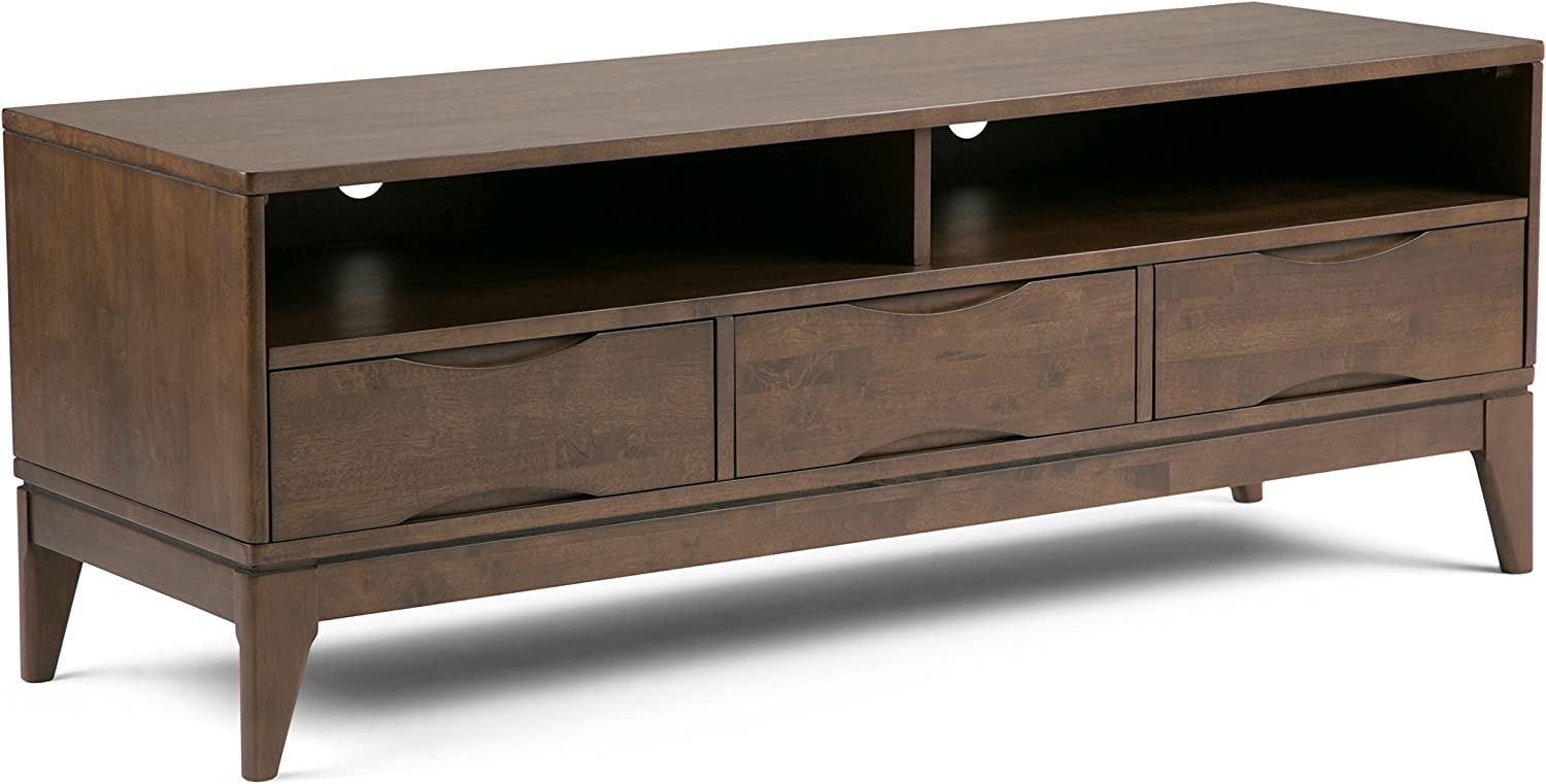 Amazon Com Simplihome Harper Solid Wood Universal Tv Media Stand 60 Inch Wide Modern Industrial Storage Shelves And Cabinets For Flat Screen Tvs Up To 70 Inches Walnut Brown Furniture Decor