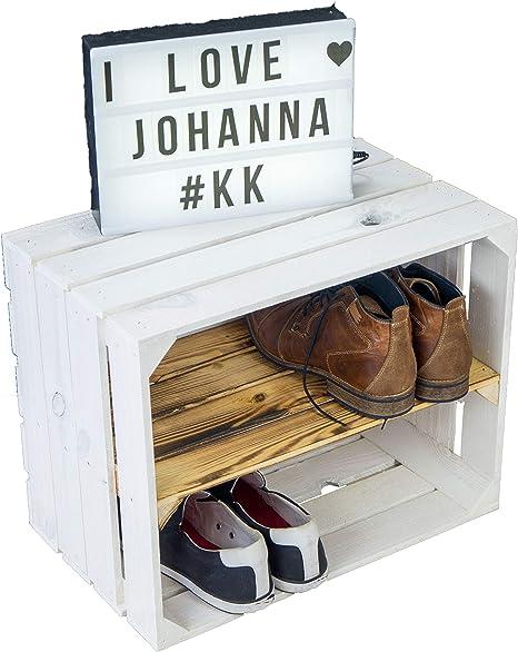Neue weiße Massive Obstkiste Johanna mit geflammtem Mittelbrett längsZwischenbrettern ca 50x40x30cm BücherregalSchuhregalkiste Regalkiste