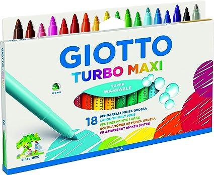 Rotuladores Giotto F076300 Turbo Maxi Estuche con Asa 18 Uds, Colores Surtidos: Amazon.es: Oficina y papelería