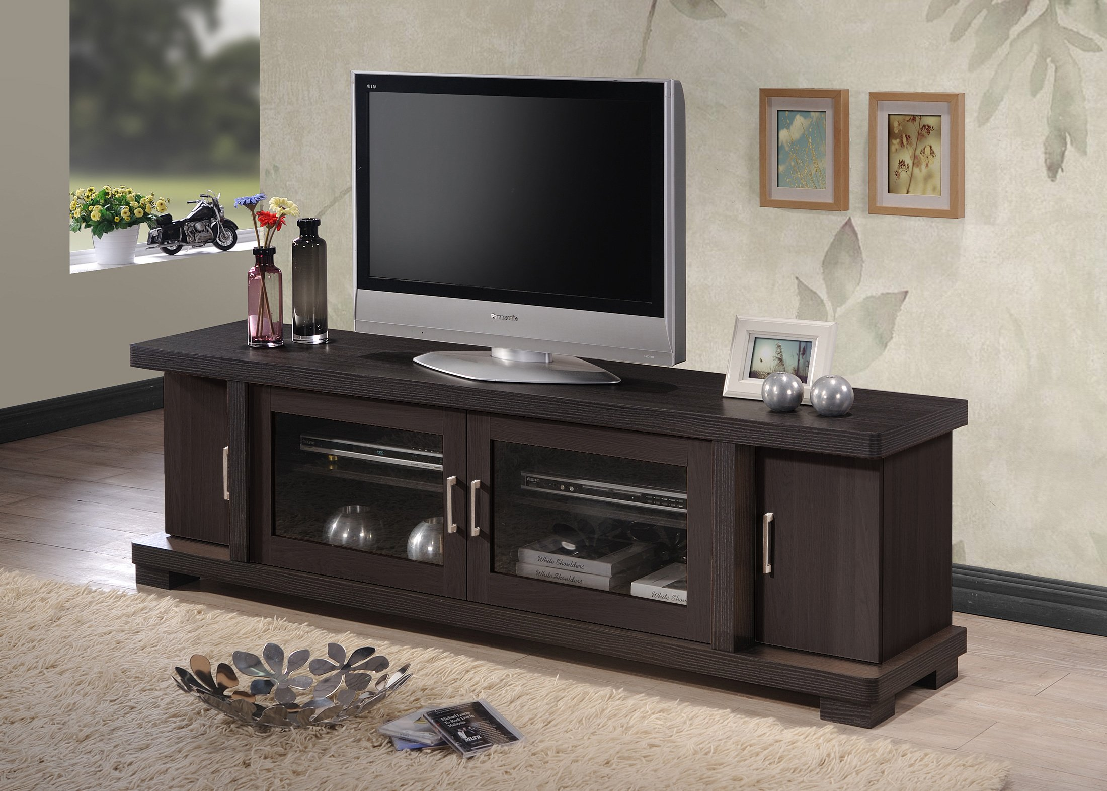 Wholesale Interiors Baxton Studio Viveka Dark Brown Wood TV Cabinet with 2 Glass Doors and 2 Doors, 70''