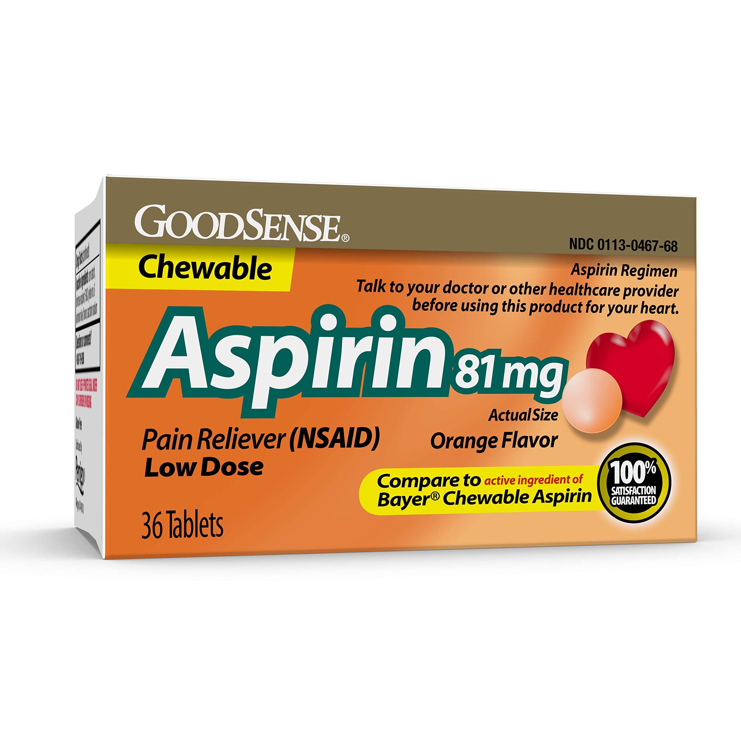 GoodSenseAspirin 81 mgPain Reliever (NSAID) Chewable Tablets, Low Dose Aspirin, Orange Flavor