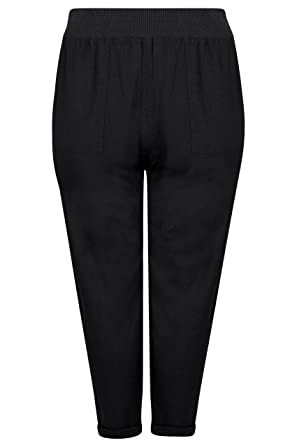 f3d8ee0cd2e Yours Clothing Women s Plus Size Linen Mix Pull On Tapered Trousers with  Pockets Size 16 Black