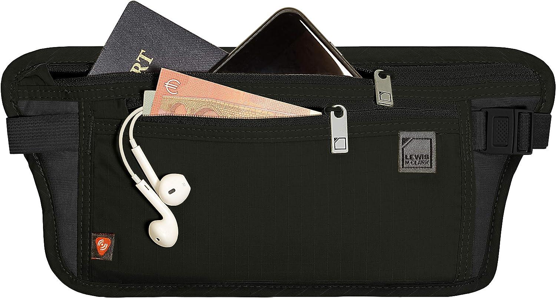 Lewis N. Clark RFID Blocking Money Belt Travel Pouch Waist Stash + Credit Card, Id, Passport Holder for Women & Men, Black, One Size