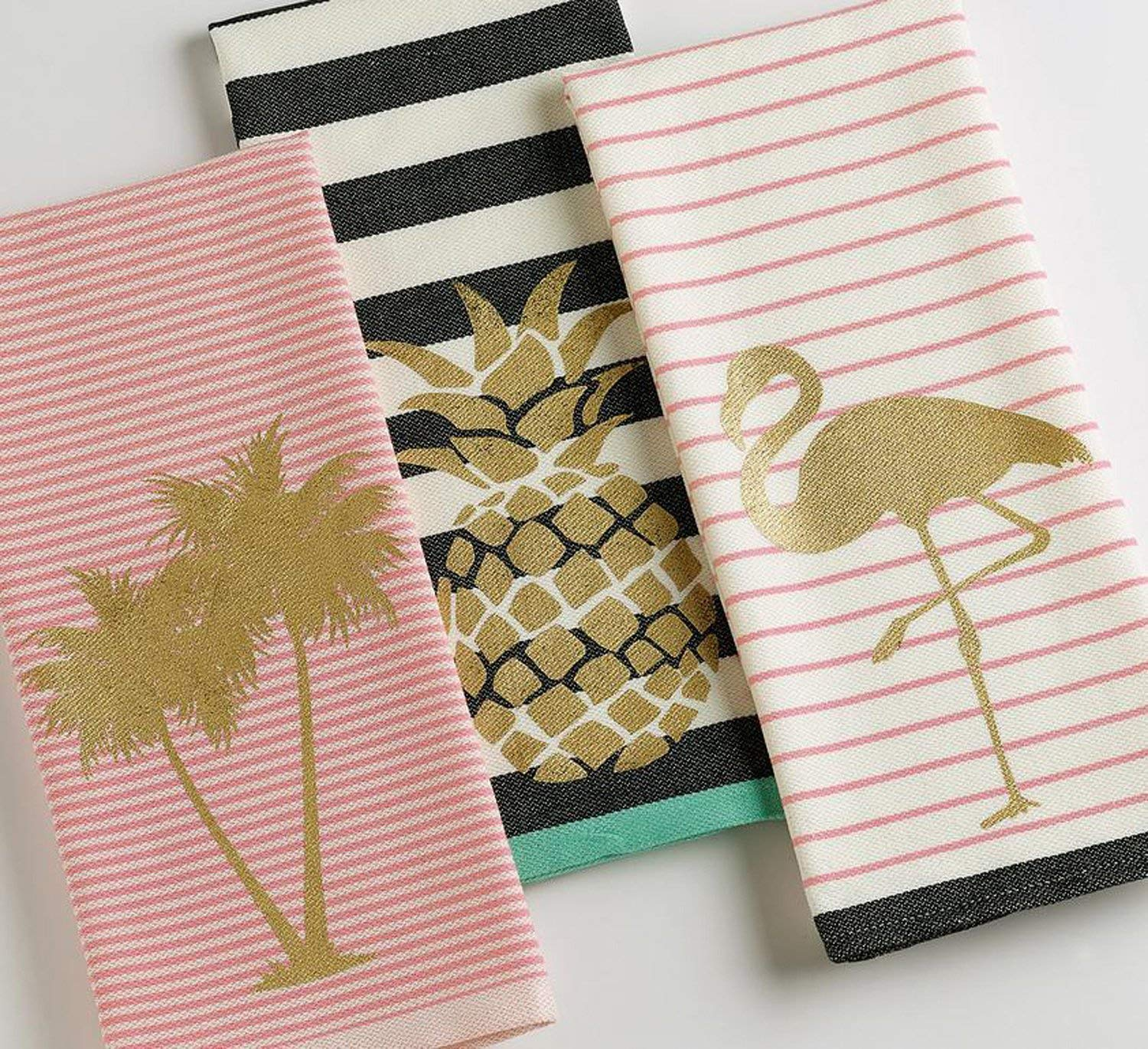 Golden Flamingo Dish Towel DII Pink Stripes Gold Cotton Design Imports