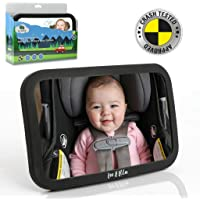 Funbliss Baby car Mirror Most Stable Backseat Mirror with Premium Matte Finish-Super Clear PMMA Material Mirror-Safe Secure and Shatterproof,Gray