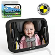 Leo&Ella Baby Car Mirror   Crash Tested   Large Shatterproof Mirror with Adjustable Safety Mount   Premium Matte Finish   Crystal Clear View of Newborn in Rear Facing Car Seat   100%