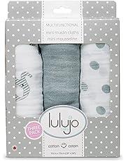 Lulujo Mini Muslin Cotton Receiving Cloths Afrique, Grey/White