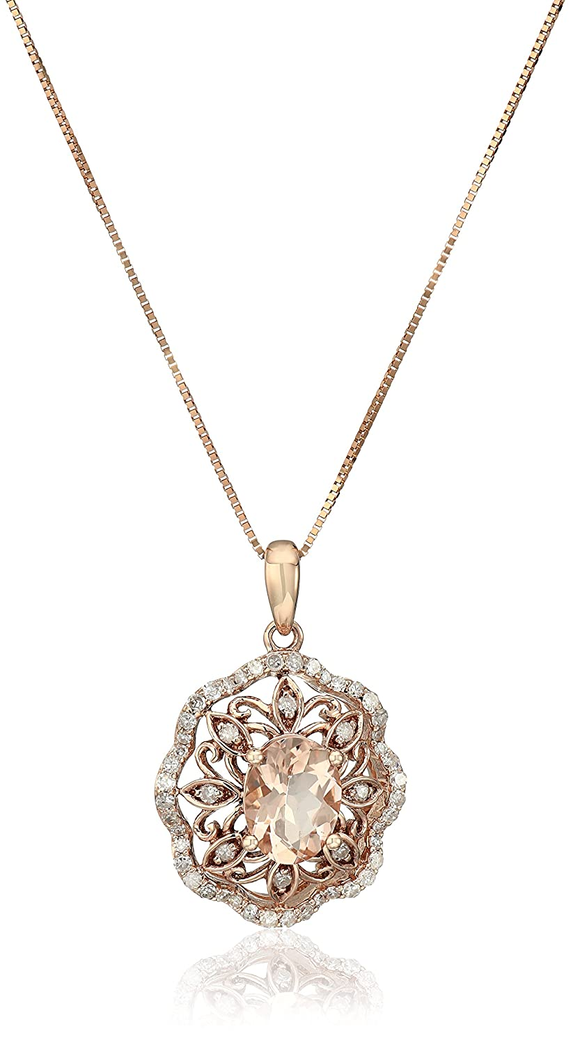 """10k Pink Gold Morganite and Diamond Flower Pendant Necklace (1/3cttw, I-J Color, I2-I3 Clarity), 18"""""""